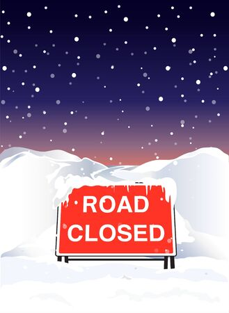 road closed: A Road Closed sign due to heavy snowfall. EPS10 vector format