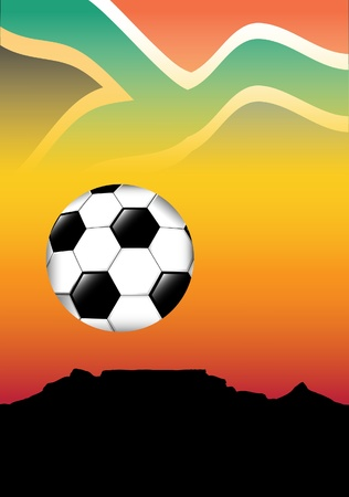 cape town: South Africa football concept. Table Mountain, Cape Town, silhouetted against an Afican sky with fottball. Space for text Illustration