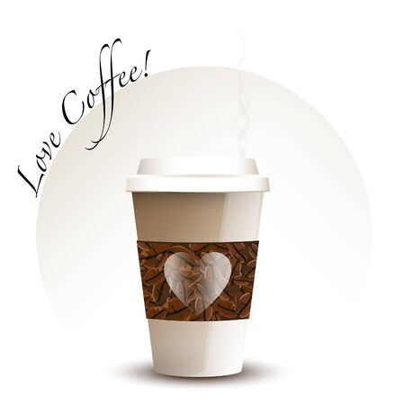 Steaming takeaway coffee cup with beans and hearts. Love Coffee concept. EPS10 vector format. Vector