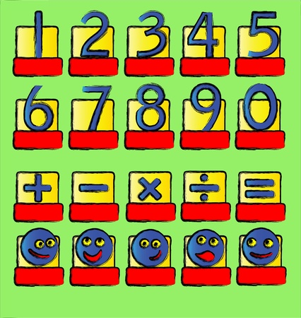 A vector illustration of numbers and mathematical symbols and smilies. A complete alphabet also available in my portfolio. Vector