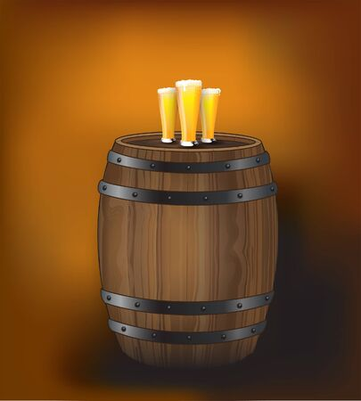 A wooden beer barrel with glasses of fresh beer on top. Space for your text. EPS10 vector format. Vector
