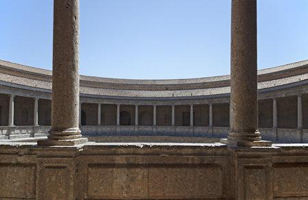light columns: Roman style Palace of Charles V. Alhambra, Granada, Spain
