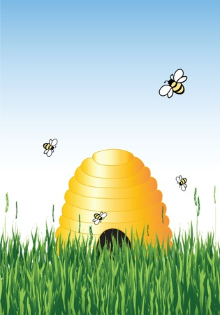 Vector illustration of honey bees around a hive in summer with copy space Illustration