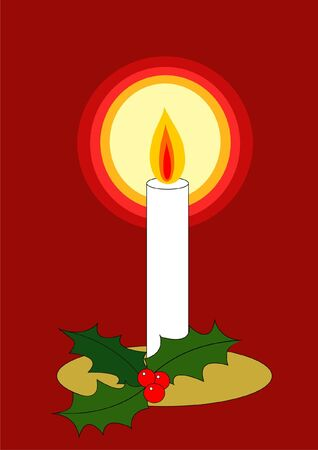 Retro style Christmas candle and holly Vector