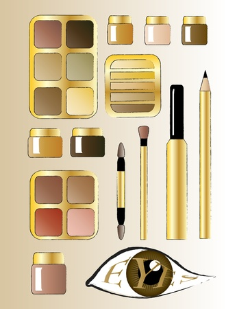 make up eyes: An illustrations of various eye cosmetic products. Sketch style.
