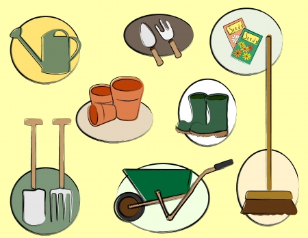 A vector illustration depicting gardening tools. Retro style sketch. Vector