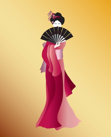 colour fan: A vector illustration of a Geisha dressed in shades of pink