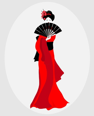 japanese kimono: A vector illustration of a Geisha dressed in red and black