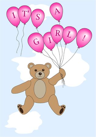 Teddy bear floating with balloons spelling Stock Vector - 12235520