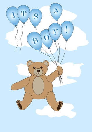 Vector: Teddy bear floating with balloons spelling  Vector