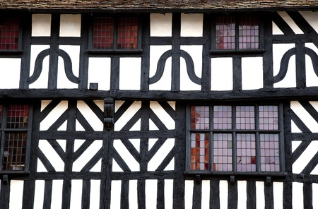 half timbered: Detail of a timbered building, Stratford-Upon-Avon, UK.
