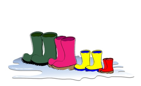 puddle: A row of Welligton boots drying. Family sizes, father, mother, child and baby. Vector format.