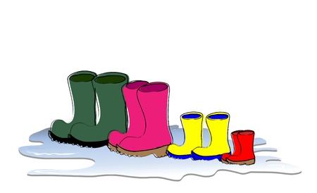 vestidos antiguos: Una fila de botas Welligton secado. Los tama�os de familia, padre, madre, ni�o y beb�. Formato vectorial. Vectores