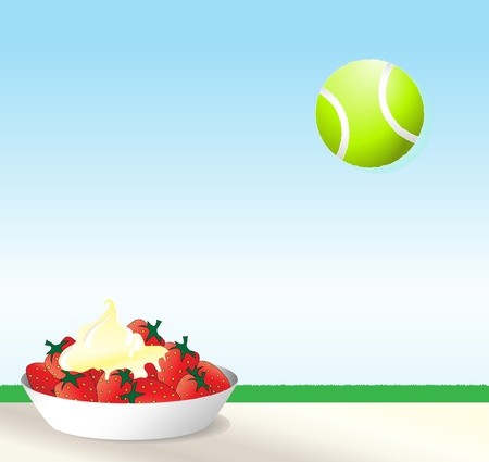 A vector illustration of strawberries and cream with a tennis ball against blue sky. Wimbledon concept with space for text.