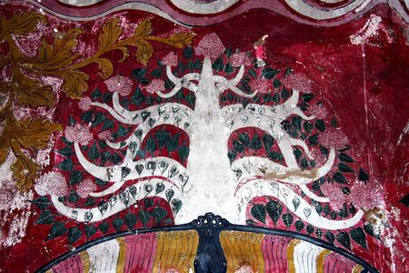 A painted representation of the Bo Tree, or Bodhi Tree, in the Damulla Rock caves, cultural triangle, Sri Lanka.