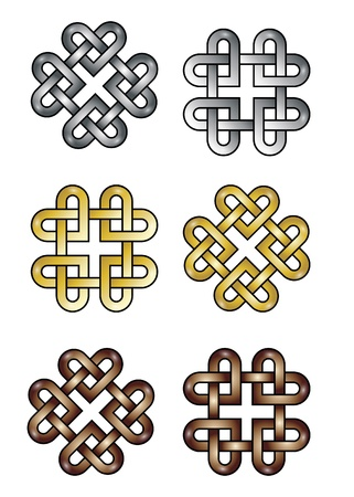 gold cross: Celtic knot made of hearts.
