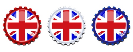 Union Jack  bottle caps.  Condensation drops on separate layer for easy editing. Stock Vector - 12235534
