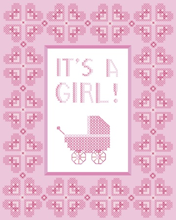 stitches: Its a girl cross-stitch frame with hearts and pram.  Illustration