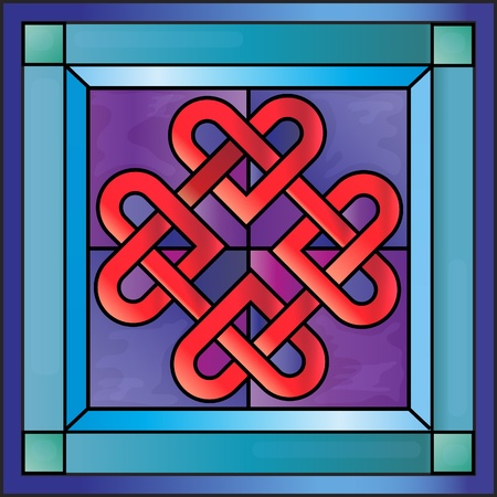 stained glass window: Stained glass with Celtic hearts.  Illustration