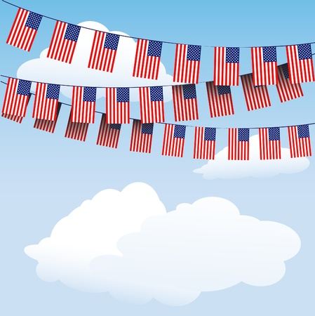 fourth july: Stars and Stripes bunting on cloud background with space for your text.