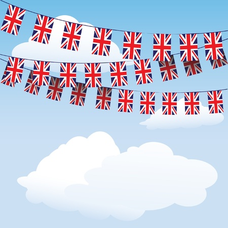 Union Jack bunting on cloud background with space for your text.  Stock Vector - 12235557