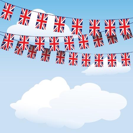 Union Jack gors op cloud achtergrond met ruimte voor uw tekst. Vector Illustratie
