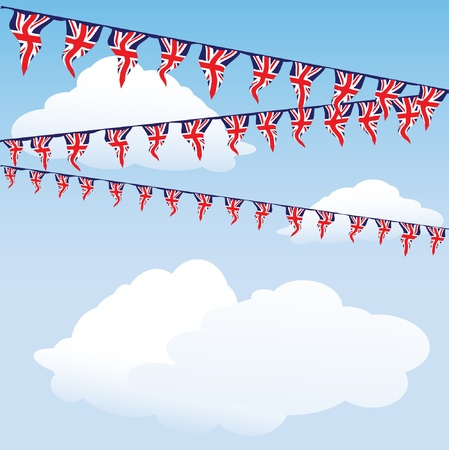 Union Jack bunting on cloud background with space for your text.  Vector