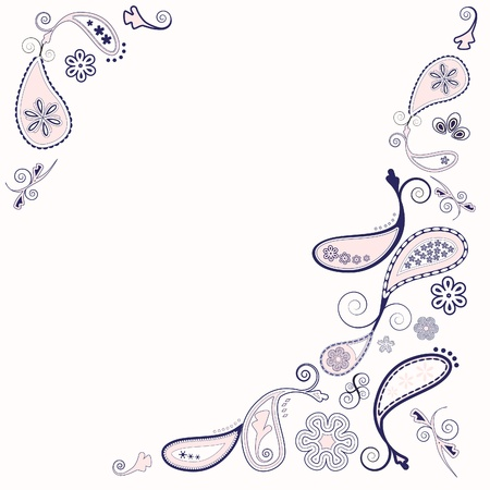 navy blue: Paisley background in pink and navy with space for text.