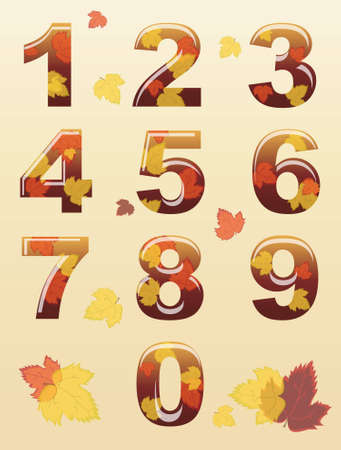 numerals: A set of numbers with autumn leaf theme.