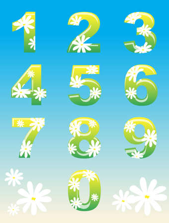 0 6: A set of numbers with spring flower theme.