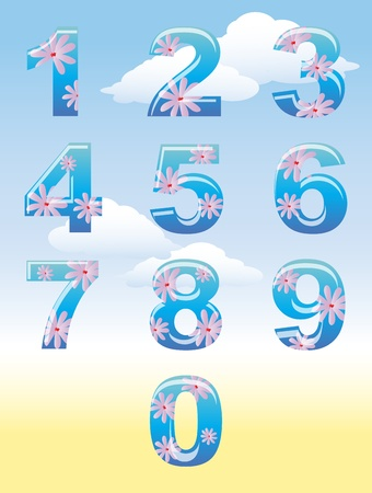 0 6: A set of numbers with summer flower theme against blue sky. Illustration