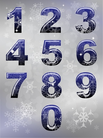 A set of numbers with winter snowflake theme.  Vector
