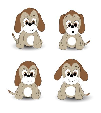 gezichts uitdrukkingen: Cartoon puppy met verschillende gezichtsuitdrukkingen. EPS10 vector-formaat