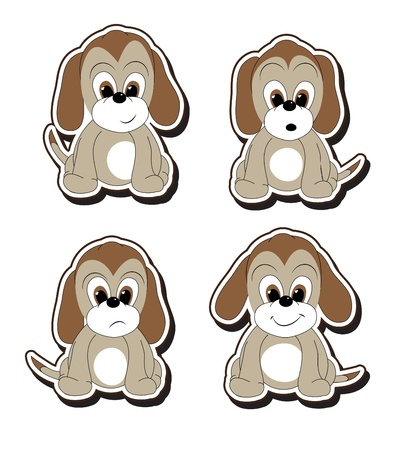 Stickers of cartoon puppies with various facial expressions.   Vector