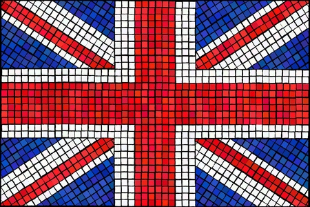 A Union Jack flag made from mosaic tiles.  Illustration
