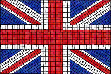 Una bandera Union Jack hecha de azulejos de mosaico.