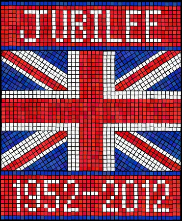 jack of diamonds: Diamond Jubilee concept. A Union Jack flag made from mosaic tiles.  Illustration