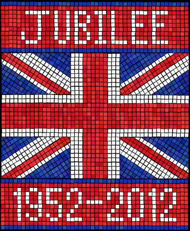queen diamonds: Diamond Jubilee concetto. Una bandiera Union Jack realizzato in tessere di mosaico. Vettoriali