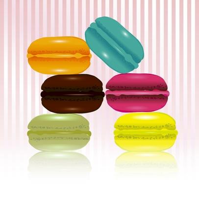 macaron: Lust auf Franz�sisch Makronen auf S��igkeiten-Streifen-Hintergrund mit Platz f�r Ihren Text. Illustration