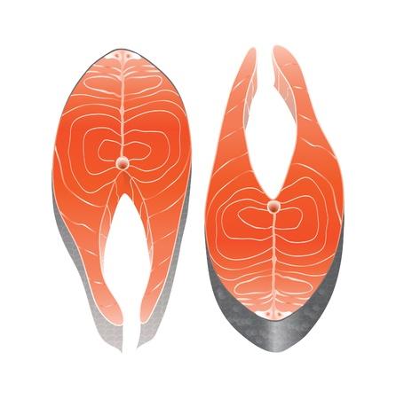salumi affettati: Due sezione tranci di salmone fianco a fianco, isolato su bianco