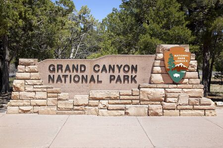 tree world tree service: The entrance to the Grand Canyon National Park, Arizona, USA Editorial