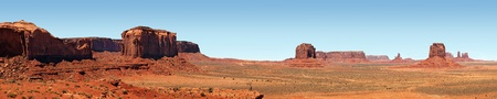 navajo land: A panorama view of Monument Valley, Utah, USA, against blue sky