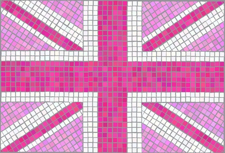 Pink Union Jack. Vintage mosaic style. EPS10 vector format.