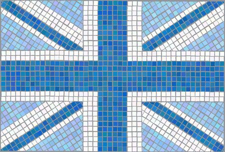 queens jubilee: Blue Union Jack. Vintage mosaic style. EPS10 vector format.