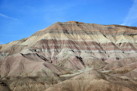 rock layers: Colourful rock formation on route to Tuba City from Grand canyon National Park, Arizona, USA