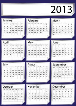 A 2013 calendar created with silver stickers. Space for text or Company name. EPS 10 vector format Stock Vector - 14124076