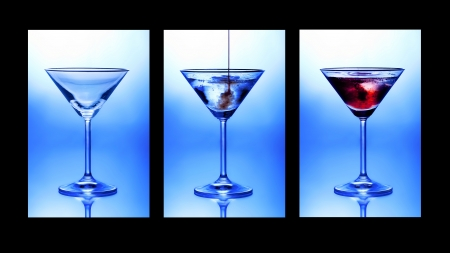 martini splash: Cocktail triptych. Three glasses showing stages of pouring a cocktail.