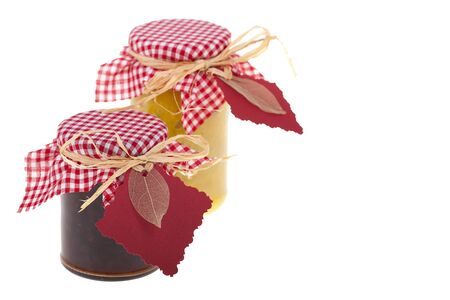 Homemade chutney gifts  On white background with space for text  photo