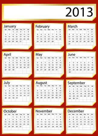 A 2013 calendar created with gold stickers. Space for text or Company name Vector