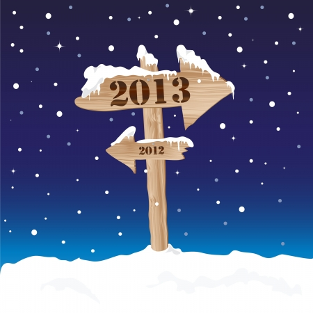 A wooden sign showing the way to 2013 from 2012. New Years eve concept Vector